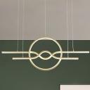 Minimalist Geometric Acrylic Pendant LED Hanging Island Light in Gold over Table, Warm/White Light