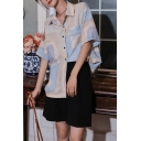 Stylish Womens Abstract Printed Pocket Button Down Collar Short Sleeve Regular Fit Shirt in Grey