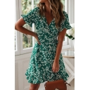 Gorgeous Ditsy Floral Print Bell Short Sleeve Surplice Neck Bow Tied Waist Ruffled Short Wrap Dress for Ladies