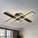 Black Intersected Ceiling Mount Lamp Modernism Iron LED Flush Mount Lighting Fixture
