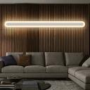 Elongated Living Room Sconce Light Metallic Minimalistic LED Flush Mount Wall Light in Warm/White Light, 16