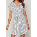 Formal Stripe Printed Short Sleeve Turn down Collar Bow Tie Waist Button down Short A-line Shift Dress in White