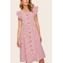 Stylish Stripe Pattern Ruffled Sleeveless V-neck Button up Mid A-line Smock Dress in Red