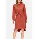 Trendy Womens Orange Long Sleeve Point Collar Button up Bow Tied Waist Mid A-line Skirt Dress