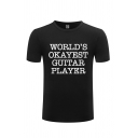 Simple Tee Top Letter Worlds Okayest Gultar Player Printed Short Sleeve Round Neck Fitted Tee Top for Men