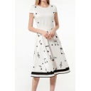 Creative Womens Music Note Printed Short Sleeve Round Neck Striped Short A-line Dress in White