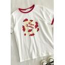 Cute Girls Cartoon Cake Printed Patchwork Crew Neck Short Sleeve Regular Fit Top T Shirt
