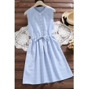 Simple Summer Girls Plaid Ruched Drawstring Button Crew Neck Sleeve Midi A Line Dress in Blue