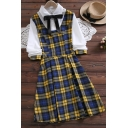 Fashionable Girls Patchwork Plaid Bow Button Detail Collar Long Sleeve Midi Fake Two Piece Dress
