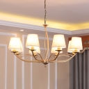White 4/6/8 Bulbs Hanging Chandelier Traditional Fabric Barrel Shade Suspension Light for Dining Room