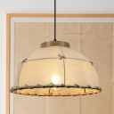 Barn Shade Fabric Drop Pendant Country 1 Head Restaurant Ceiling Hang Fixture in Flaxen, 14