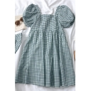Summer Girls Plaid Pleated Square Neck Short Bishop Sleeve Midi Oversized Smock Dress with Hat