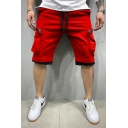 Trendy Men's Shorts Contrasted Trim Drawstring Waist Zipper Straight Fit Knee Length Cargo Shorts with Pockets