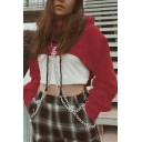 Cool Womens Plain Chain Embellished Long Sleeve Relaxed Super Crop Hoodie