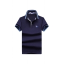 Mens Fashion Polo Shirt Figure Horse Printed Button Detail Fitted Short Sleeve Spread Collar Polo Shirt