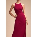 Boutique Womens Solid Color Sleeveless Hollow-out Back Maxi A-line Formal Dress