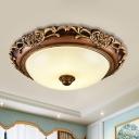 Farmhouse Domed Ceiling Flush Cream Glass LED Flushmount Lighting in Brown for Bedroom, 14
