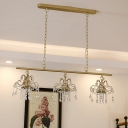 3-Head Crystal Fringe Island Pendant Post-Modern Gold Linear Dining Room Hanging Ceiling Light