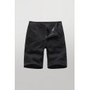Mens Retro Shorts Solid Color Zip Fly Button Detail Pockets Knee Length Straight Fit Chino Shorts