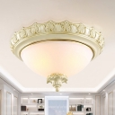Dome Living Room Ceiling Mounted Fixture Countryside Frosted Glass 2/3 Bulbs White LED Flush Light, 14