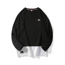 The Letter Embroidery Patchwork Long Sleeve Round Neck Ovesize Street Tee Top for Men