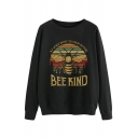 Street Girls Cartoon Bee Letter Bee Kind Graphic Long Sleeve Round Neck Relaxed Pullover Sweatshirt in Black