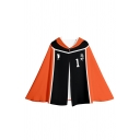 Fashionable Womens Number Footprint Graphic Colorblock Hooded Button up Loose Fit Cape in Orange