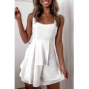 Stylish Womens Solid Color Patchwork Lace up Hollow out Back Short A-line Tank Dress