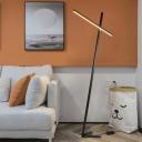 Simplicity Crossed Line Stand Up Light Metallic Living Room LED Floor Lamp in Black