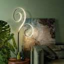 Contemporary Scroll Stand Up Light Acrylic LED Bedside Reading Floor Lamp in White/Black