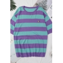 Cartoon Embroidery Stripe Printed Short Sleeve Round Neck Loose Fit Popular T Shirt for Women