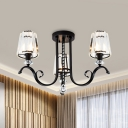 Black 3/7-Head Close to Ceiling Light Contemporary Crystal Conical Semi Flush Mount Chandelier for Bedroom