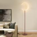 Coffee Finish Ring Floor Standing Lamp Modernism LED Acrylic Floor Lighting in Warm/White Light