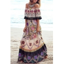 Ethnic Womens Allover Flower Print Patched Ruffled Cold Shoulder Maxi A-line Beige Dress