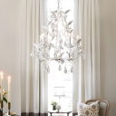 Countryside Branch Chandelier Lighting 5 Heads Metallic Candle Suspension Light in White/Grey