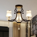 Modernism 3-Light Pendant Chandelier with Clear Crystal Glass Shade White/Black Finish Bell Suspension Lamp