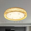 Drum Clear K9 Crystal Flush Light Fixture Modernist LED Chrome Flush Mounted Lamp