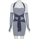 Sexy Girls Mesh Patched Halter Hollow Out Ruched Knitted Blue Mini Sheath Dress with Gloves