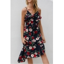 Chic Womens Allover Floral Printed Spaghetti Straps Ruffled Asymmetric Hem Midi A-line Cami Dress in Navy