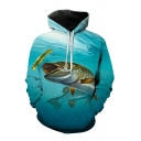 Mens Fancy Fish 3D Print Drawstring Full Sleeve Loose Fit Hooded Sweatshirt with Pocket