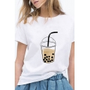 Stylish Womens Juice Print Short Sleeve Round Neck Loose Fit T Shirt in White