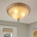 Curved Glass Shade Flushmount Lamp Retro 3 Lights Bedroom Flush Mount Lighting in Brown