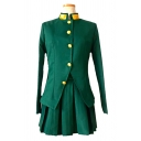 Popular Cosplay Long Sleeve Stand Collar Button down Slim Fit Jacket & Short Pleated A-line Skirt Set in Green