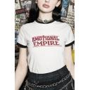Cool Womens Letter Emotional Empire Print Short Sleeve Crew Neck Regular Fit Ringer T-shirt in White