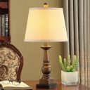 Resin Candle Night Stand Light Rural 1 Head Workspace Table Lamp with Conic Fabric Shade in Beige