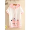 Casual Cat Embroidered Contrasted Short Sleeve Drawstring Hooded Loose T Shirt in Pink