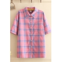 Fashion Womens Plaid Print Short Sleeve Point Collar Chest Pocket Button down Relaxed Shirt in Pink