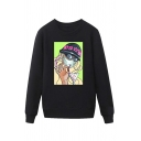 Chic Mens Character Letter Stop Virus Printed Pullover Long Sleeve Round Neck Regular Fitted Graphic Sweatshirt