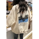 Streetwear Womens Letter Alaska Cruise Mountain Graphic Long Sleeve Crew Neck Oversize Pullover Sweatshirt
