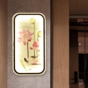 Asia Lotus Painting Fabric Mural Lamp LED Flush Wall Sconce in Black for Living Room